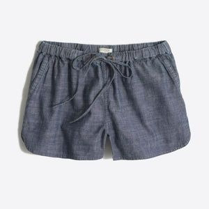 J. Crew lightweight chambray drawstring shorts M